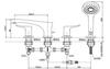 Vòi xả bồn TOTO TBP02202A nóng lạnh 4 lỗ kèm sen tắm ZL
