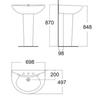 Chậu Lavabo American standard 0956-WT/0775-WT chân dài treo tường