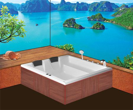 Bồn tắm oval EurocaEU1-1616 massageAcrylic